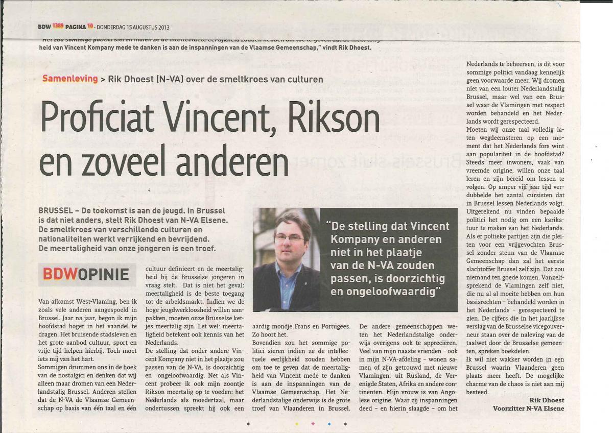 Proficiat Vincent, Rikson en zoveel anderen