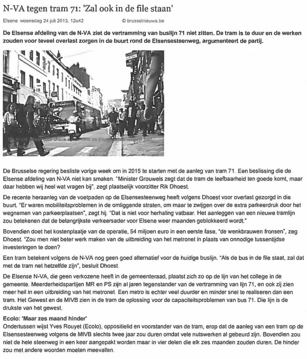 N-VA tegen tram 71: 'Zal ook in de file staan'
