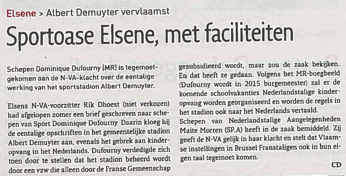 Albert Demuyter vervlaamst: Sportoase Elsene, met faciliteiten
